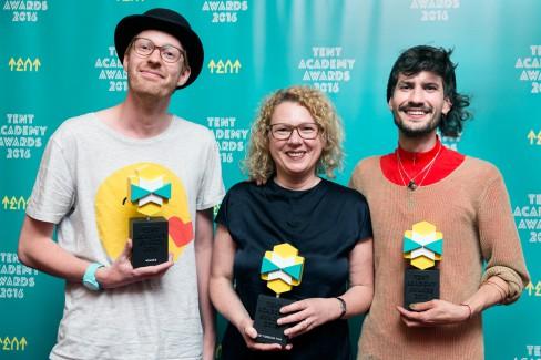 Michiel Ubels, Sabine Himmelsbach namens Pascal Reinmann, Dinu Comendant (foto Aad Hoogendoorn)